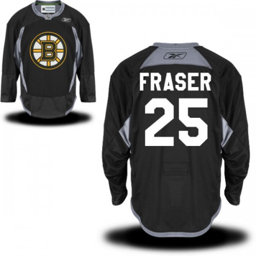 Adult Boston Bruins Matt Fraser Reebok Black Authentic Practice Alternate NHL Jersey