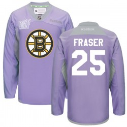 Adult Boston Bruins Matt Fraser Reebok Purple Authentic 2016 Hockey Fights Cancer Practice NHL Jersey