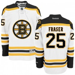 Adult Boston Bruins Matt Fraser Reebok White Authentic Away NHL Jersey