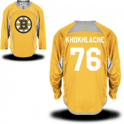 Adult Boston Bruins Alex Khokhlachev Reebok Gold Authentic Practice Team NHL Jersey