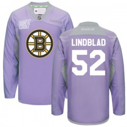 Adult Boston Bruins Matt Lindblad Reebok Purple Premier 2016 Hockey Fights Cancer Practice NHL Jersey