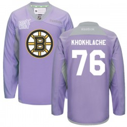Adult Boston Bruins Alex Khokhlachev Reebok Purple Authentic 2016 Hockey Fights Cancer Practice NHL Jersey
