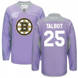 Adult Boston Bruins Max Talbot Reebok Purple Premier 2016 Hockey Fights Cancer Practice NHL Jersey