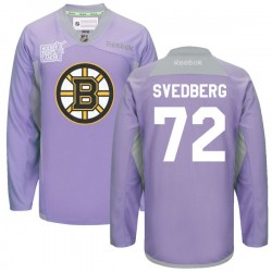 Adult Boston Bruins Niklas Svedberg Reebok Purple Authentic 2016 Hockey Fights Cancer Practice NHL Jersey