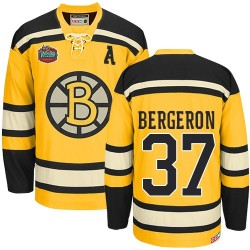 Adult Boston Bruins Patrice Bergeron CCM Gold Authentic Winter Classic Throwback NHL Jersey