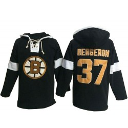 Adult Boston Bruins Patrice Bergeron Old Time Hockey Black Authentic Pullover Hoodie NHL Jersey