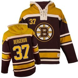 Adult Boston Bruins Patrice Bergeron Old Time Hockey Black Authentic Sawyer Hooded Sweatshirt NHL Jersey