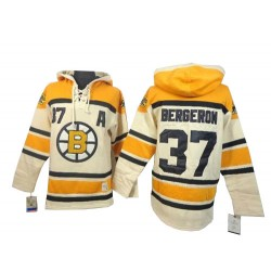 Adult Boston Bruins Patrice Bergeron Old Time Hockey Cream Authentic Sawyer Hooded Sweatshirt NHL Jersey