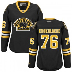 Women's Boston Bruins Alex Khokhlachev Reebok Black Authentic Alternate NHL Jersey