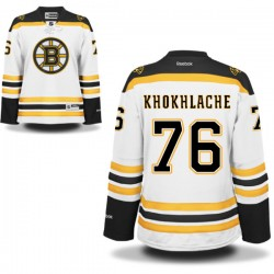 Women's Boston Bruins Alex Khokhlachev Reebok White Authentic Away NHL Jersey
