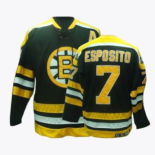 Adult Boston Bruins Phil Esposito CCM Black Authentic Throwback NHL Jersey