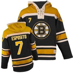 Adult Boston Bruins Phil Esposito Old Time Hockey Black Authentic Sawyer Hooded Sweatshirt NHL Jersey