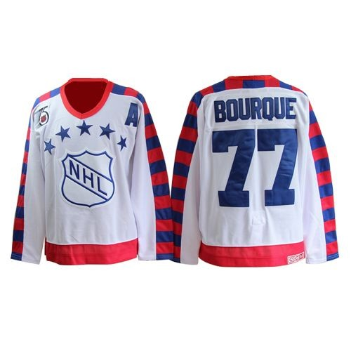 Adult Boston Bruins Ray Bourque CCM White Authentic All Star Throwback 75TH NHL Jersey
