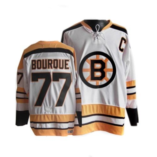 Adult Boston Bruins Ray Bourque CCM White Authentic Throwback NHL Jersey
