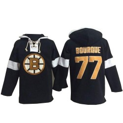 Adult Boston Bruins Ray Bourque Old Time Hockey Black Authentic Pullover Hoodie NHL Jersey