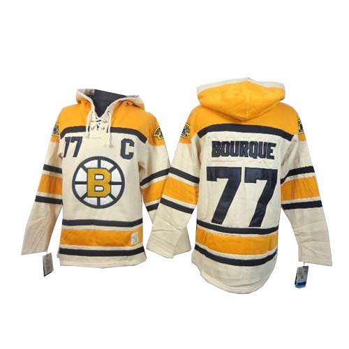 Adult Boston Bruins Ray Bourque Old Time Hockey Cream Authentic Sawyer Hooded Sweatshirt NHL Jersey