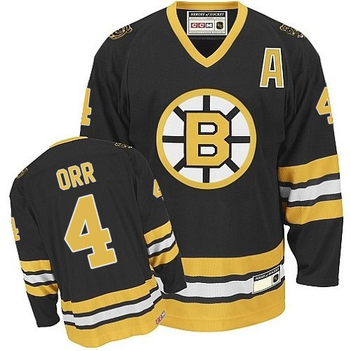 Adult Boston Bruins Bobby Orr CCM Gold Authentic Black/ Throwback NHL Jersey