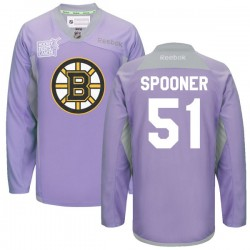Adult Boston Bruins Ryan Spooner Reebok Purple Premier 2016 Hockey Fights Cancer Practice NHL Jersey
