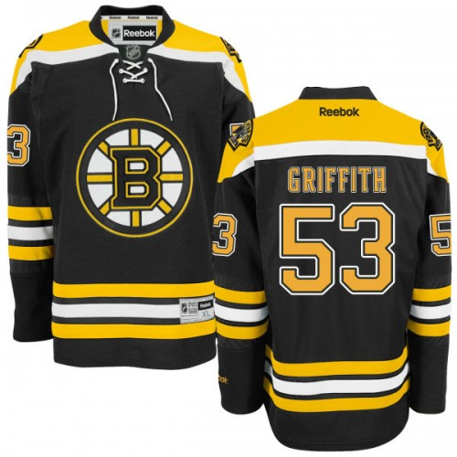 Adult Boston Bruins Seth Griffith Reebok Black Authentic Home NHL Jersey