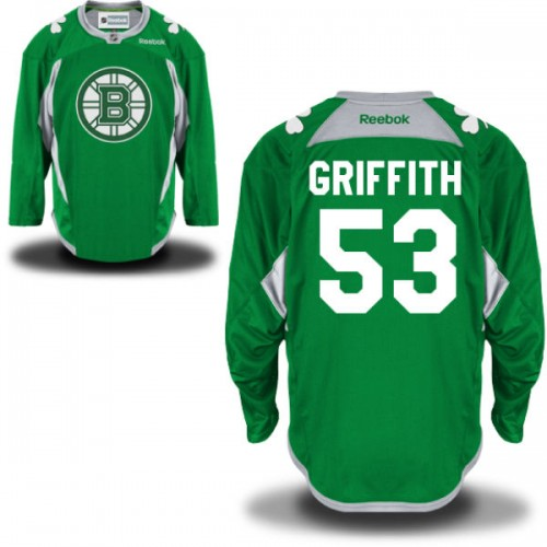 Adult Boston Bruins Seth Griffith Reebok Green Authentic St. Patrick's Day Practice NHL Jersey