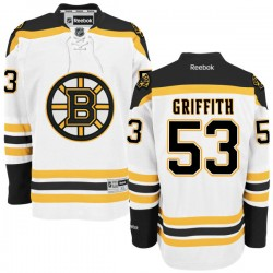 Adult Boston Bruins Seth Griffith Reebok White Authentic Away NHL Jersey