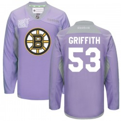 Adult Boston Bruins Seth Griffith Reebok Purple Premier 2016 Hockey Fights Cancer Practice NHL Jersey