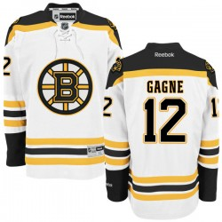 Adult Boston Bruins Simon Gagne Reebok White Authentic Away NHL Jersey