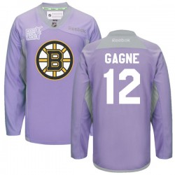 Adult Boston Bruins Simon Gagne Reebok Purple Premier 2016 Hockey Fights Cancer Practice NHL Jersey