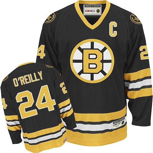 Adult Boston Bruins Terry O'Reilly Reebok Black Authentic Home NHL Jersey