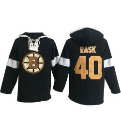 Adult Boston Bruins Tuukka Rask Old Time Hockey Black Authentic Pullover Hoodie NHL Jersey