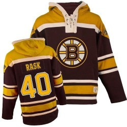 Adult Boston Bruins Tuukka Rask Old Time Hockey Black Authentic Sawyer Hooded Sweatshirt NHL Jersey