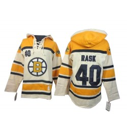 Adult Boston Bruins Tuukka Rask Old Time Hockey Cream Premier Sawyer Hooded Sweatshirt NHL Jersey