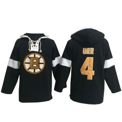 Adult Boston Bruins Bobby Orr Old Time Hockey Black Authentic Pullover Hoodie NHL Jersey