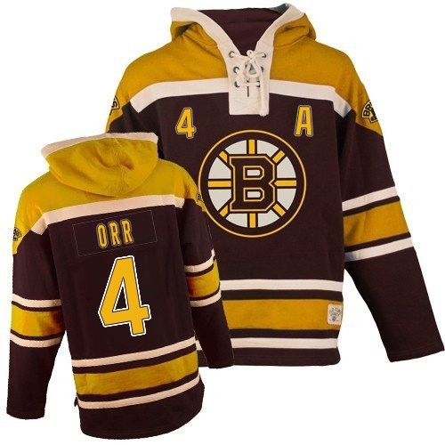 Adult Boston Bruins Bobby Orr Old Time Hockey Black Authentic Sawyer Hooded Sweatshirt NHL Jersey